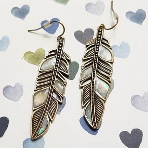 Mother of pearl feather earrings